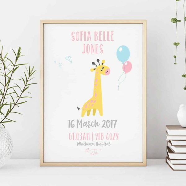 new baby personalised print