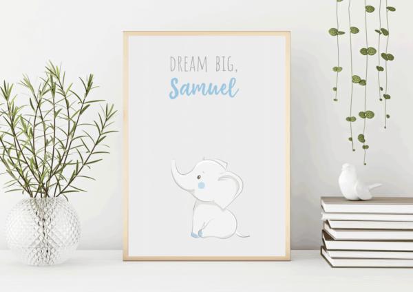 Baby Boys Personalised Elephant Print
