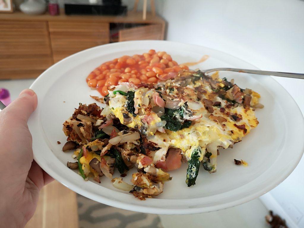 omelette and beans - slimming world recipe