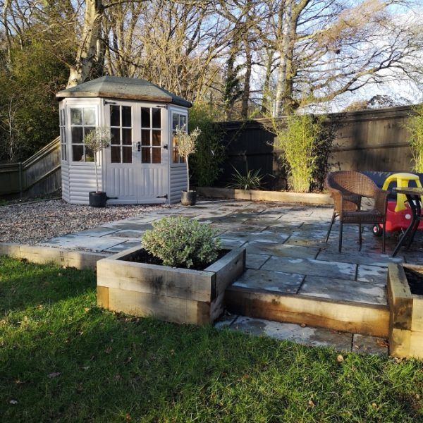 garden with patio area