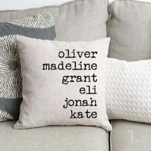 cushion with names on