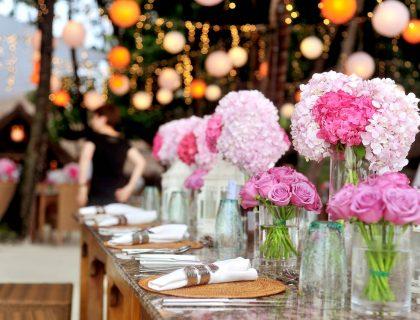 flowers set up on wedding table