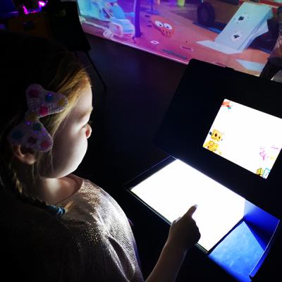 Young girl at computer screen