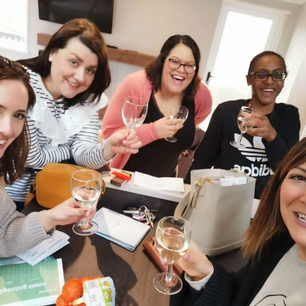 five ladies with champagne