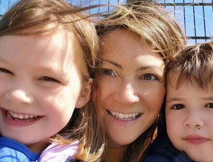 happy mum and children