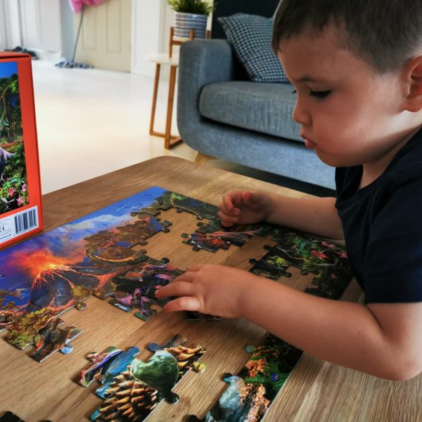 young boy playing with dinosaur puzzle