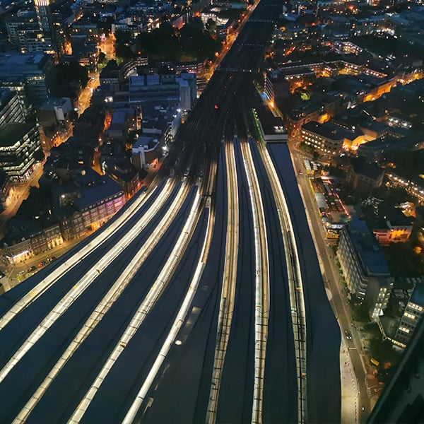 view from the shard trainlines
