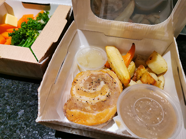 belly pork in takeaway box