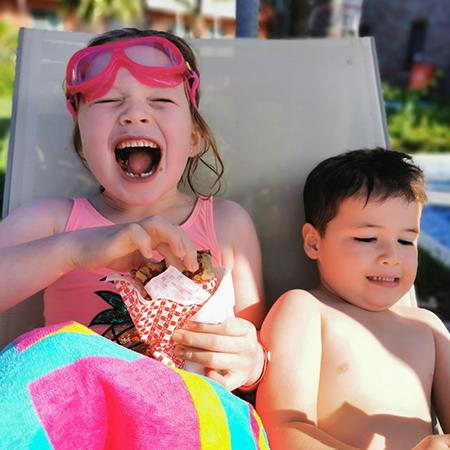 children eating crepes