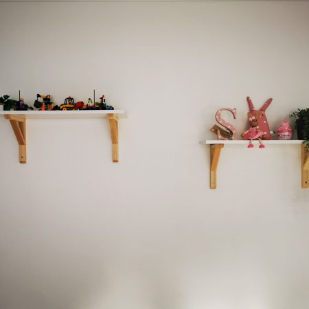 two shelves with toys on