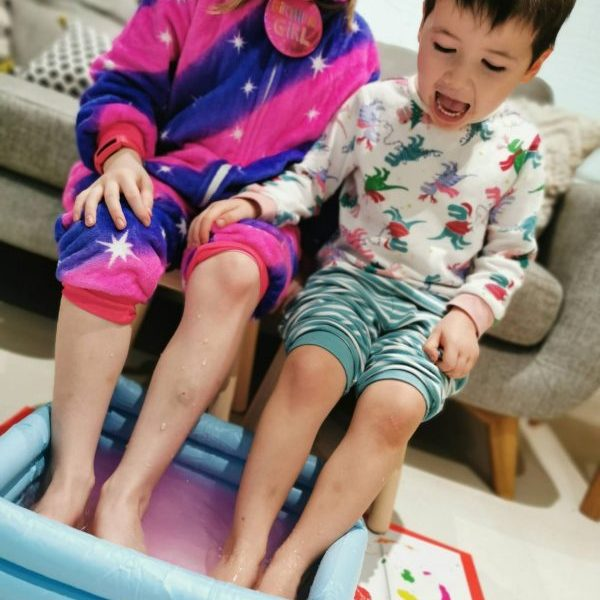 children having a slime foot spa