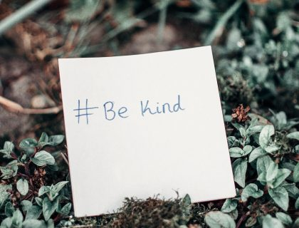 be kind note in garden