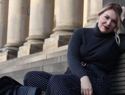 lady sat on steps