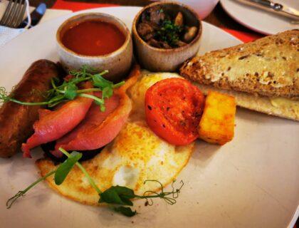 cooked breakfast in restaurant
