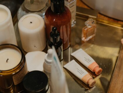 selection of skincare products on table